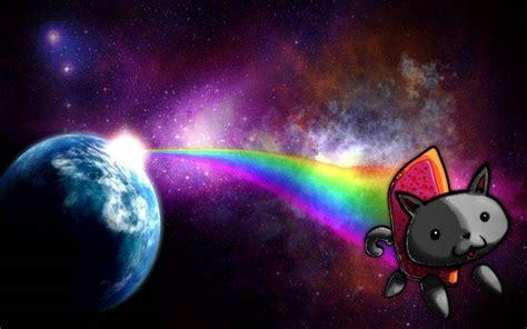 Nyan Cat, Memes, Cat, Planet, Space, Rainbows, Stars