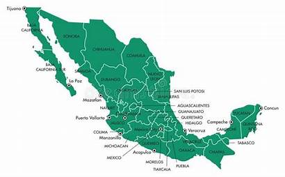 Mexico States Map Staten Isolated Graphic Geisoleerde