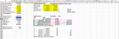excel spreadsheet  estimate federal  state income taxes