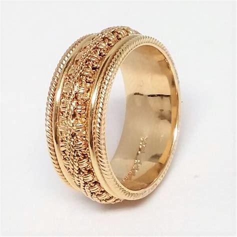 mens yellow gold ornate chain  milgrain wedding band