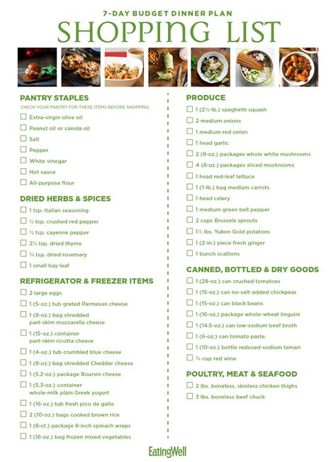 day budget meal plan shopping list eatingwell
