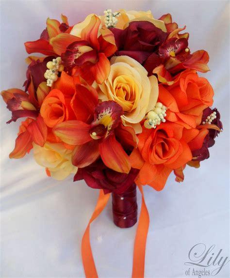 Orange Wedding Bouquets 17pcs Wedding Bridal Bouquet Set