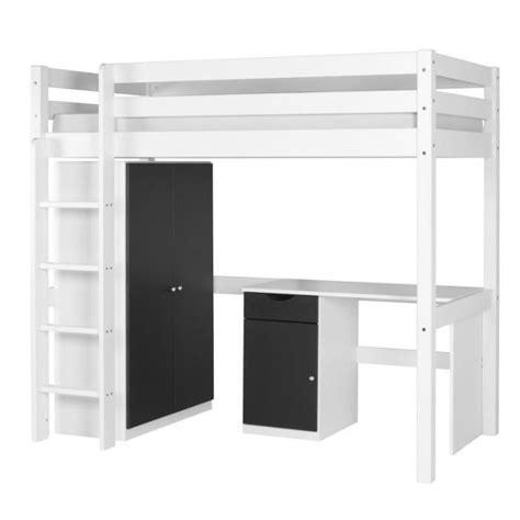 set wood lit mezzanine armoire bureau blanc achat