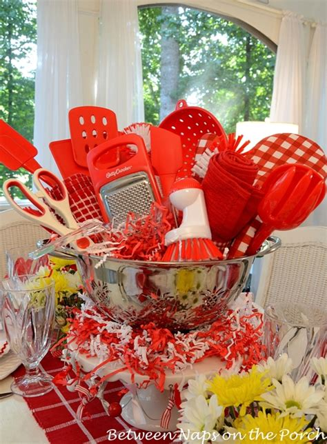 easy centerpiece   kitchen gadgets bridal shower