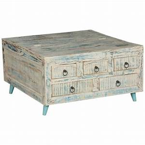 white washed reclaimed wood 355quot sq coffee table 5 drawer With white wood coffee table with drawers
