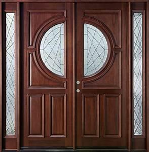 Custom Solid Wood Double Entry Door Design With Narrow