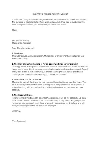 Free Church Resignation Letter Template | CocoSign