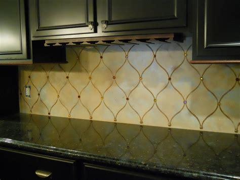 backsplash plaster  stencil  chrystals diy