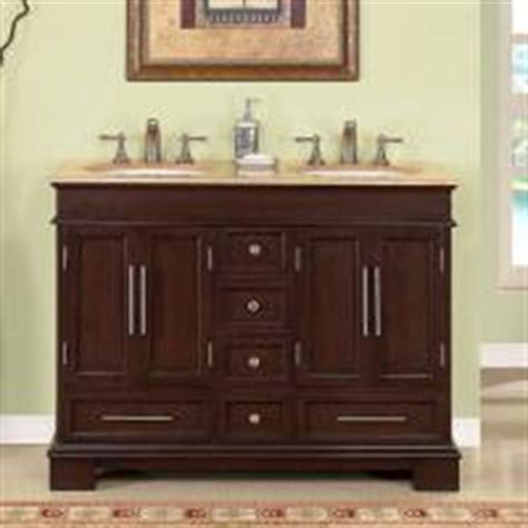 48 inch small double sink vanity in antique brown with