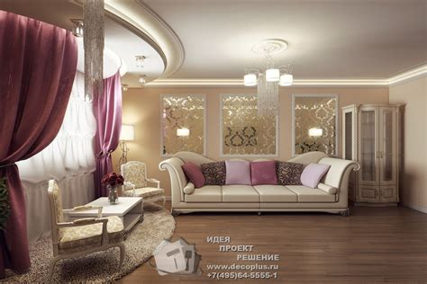 интерьер для гостинной из бруса с фото