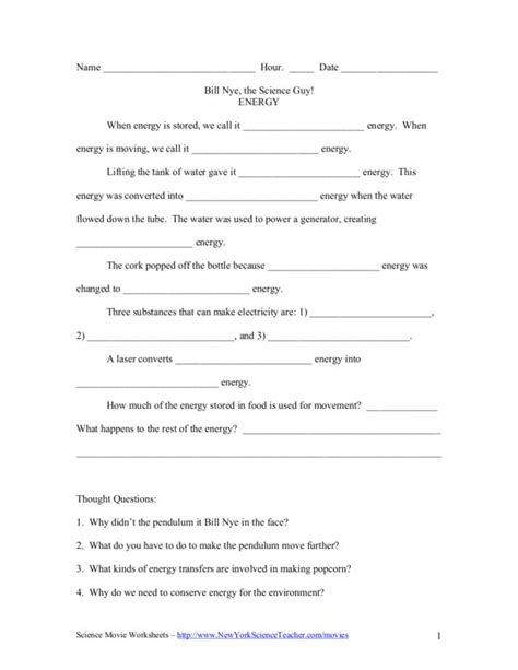 Bill Nye, The Science Guy Energy Worksheet For 5th  6th Grade  Lesson Planet