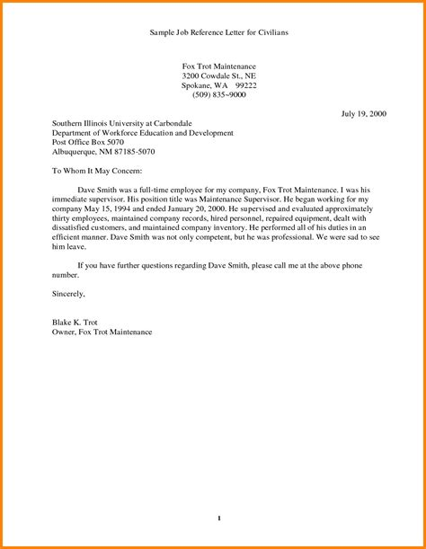 ideas  employment reference letter sample