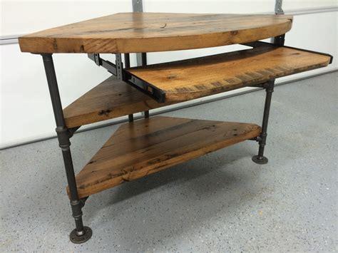kitchen island legs metal reclaimed wood corner table desk solid oak w black iron pipe
