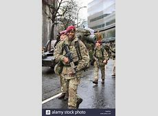 Parachute regiment soldiers at the Lord Mayor of the city