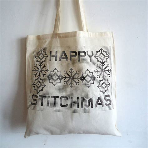 originalhappy stitchmas tote bag cross stitch kitjpg