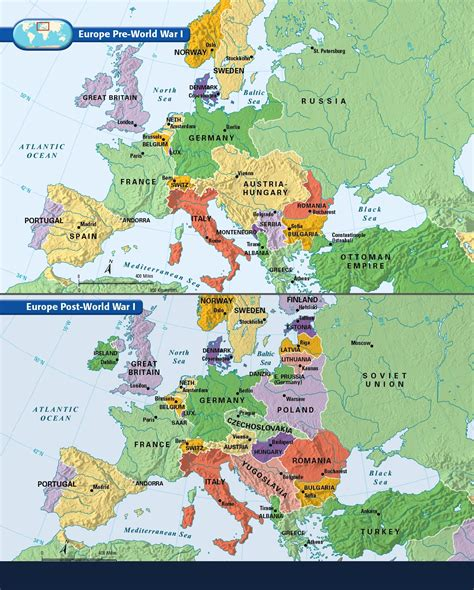 Carte De L Europe En 1914 Et 1918 by Europe Before And After The Great War Of 1914 1918