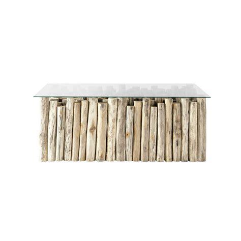 table basse en verre et teck effet vieilli l 110 cm dune