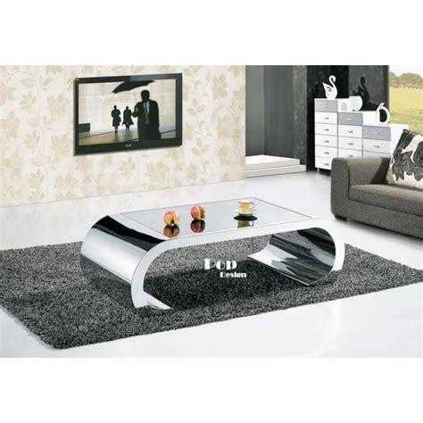 canapé relax 2 places table basse inox effet miroir pop design fr