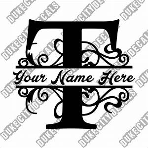letter t floral initial monogram family name vinyl decal With family name letter pictures