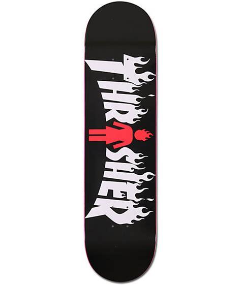 girl x thrasher 8 0 quot collaboration skateboard deck zumiez