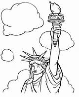 Liberty Statue Coloring Clouds Drawing Face Lady Ellis Island Pages Clipartmag sketch template