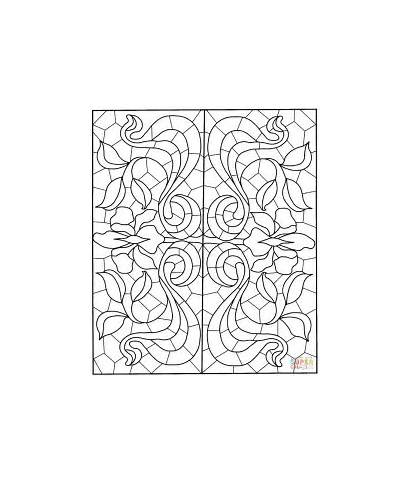Mandala Coloring Square Stained Glass Pattern Pages