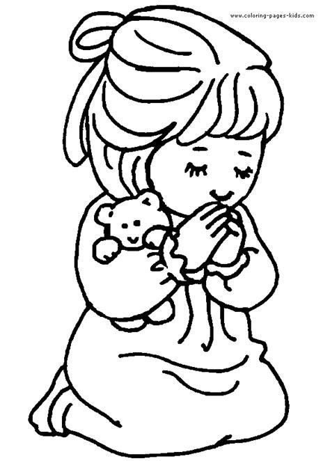 Children Praying Coloring Page Clipart Panda Free