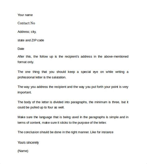 sample professional cover letter    documents   word
