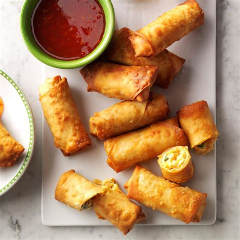 easy canapes to in advance crispy sriracha rolls recipe taste of home