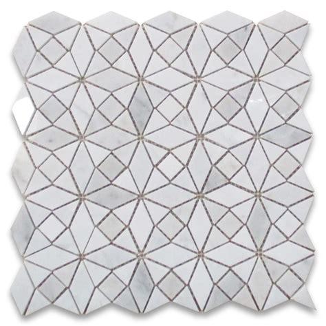 mosaic kitchen tile backsplash carrara white kaleidoscope pattern mix mosaic tile