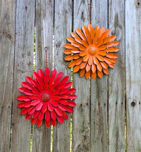 orange tin wall flowers set of 2 12 metal flower