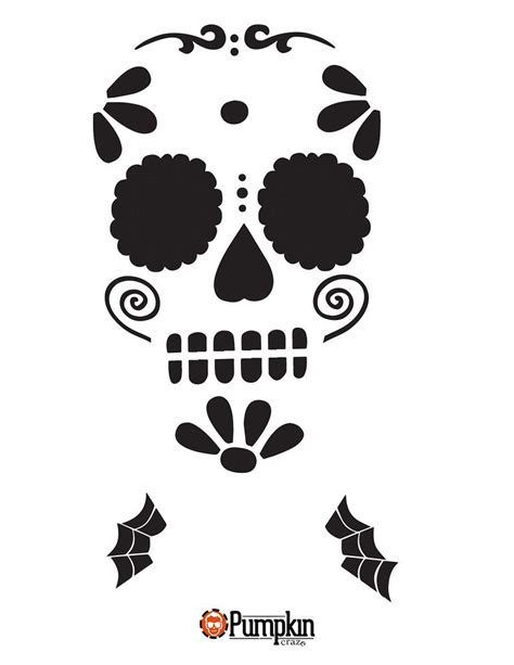 easy sugar skull  pumpkin carving stencils easy sugar