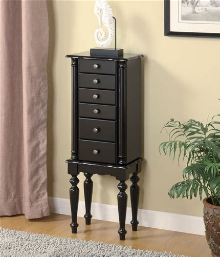 Black Standing Jewelry Armoire by Floor Standing Classic Black Jewelry Armoire With Fluted Legs