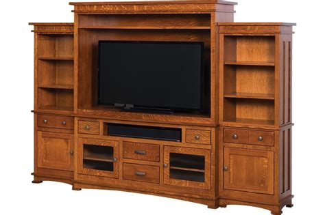 wall unit tv bookcase amish kenwood mission tv entertainment center solid wood