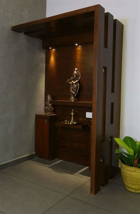 elegant prayer room  dark walnut brown unit  madhu