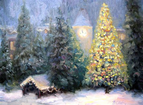 Merry Christmas From Vail Painting by Bunny Oliver