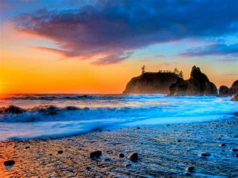 gorgeous beach sunset hdr hd wallpaper