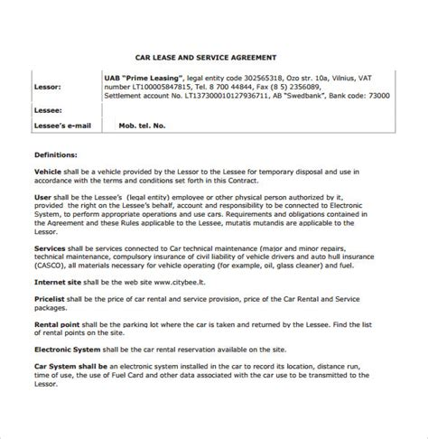 sample vehicle lease agreement templates samples