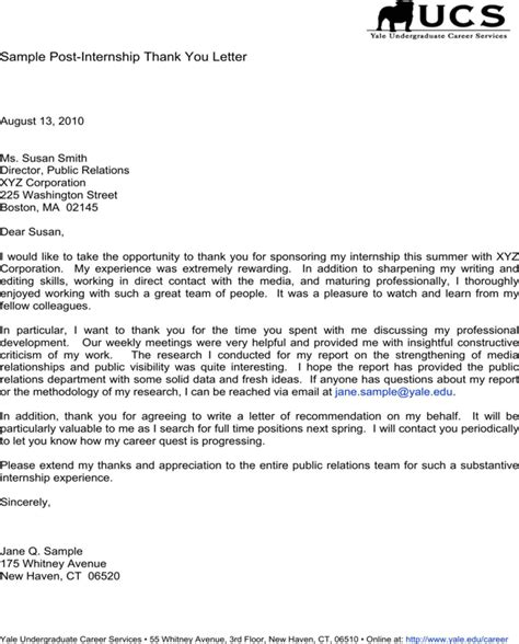 internship thank you letter thank you letter after internship crna cover letter 33289