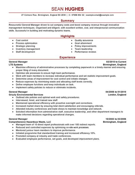 General Resume Summary Sles by Best General Manager Resume Exle Livecareer