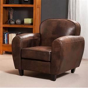 Fauteuil Crapaud Cuir : fauteuil club en microfibre aspect cuir vieilli chocolat zia ~ Teatrodelosmanantiales.com Idées de Décoration