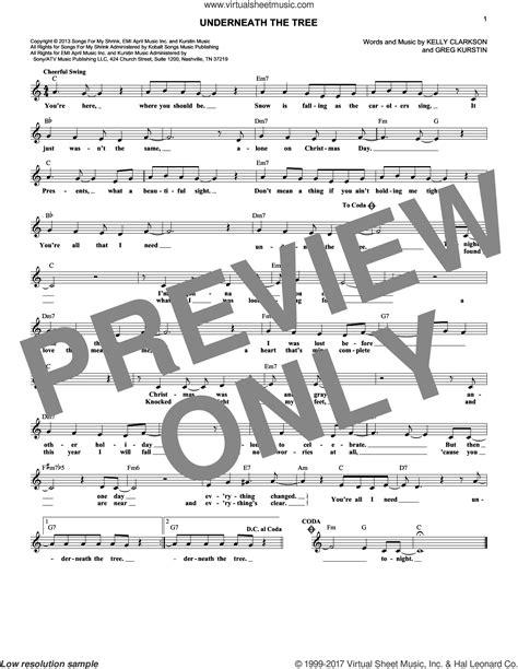 clarkson underneath the tree sheet music fake book pdf