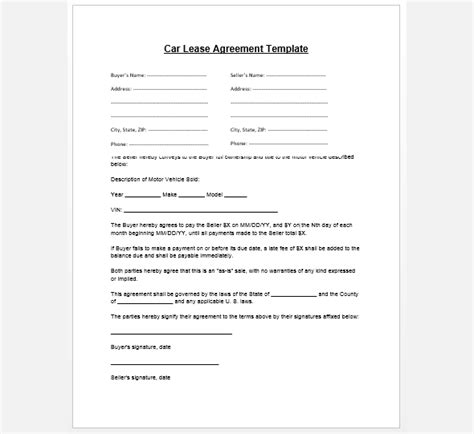 motor vehicle rental agreement template purchase