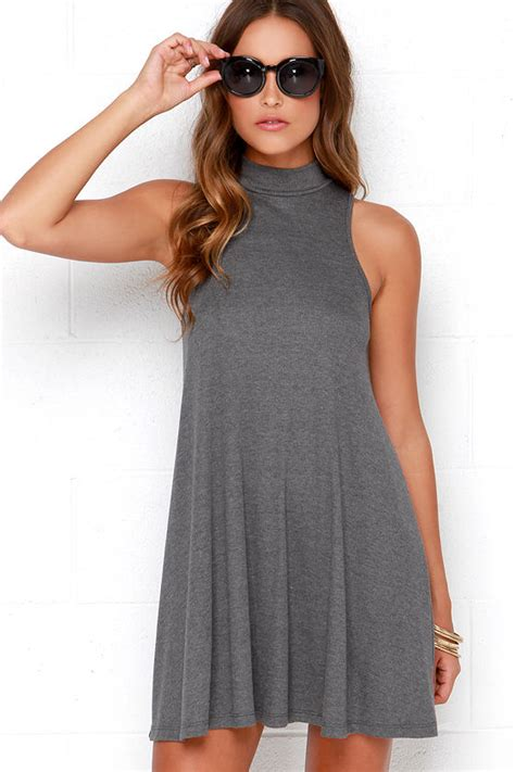 Cute Grey Dress - Swing Dress - Mock Neck Dress - $38.00