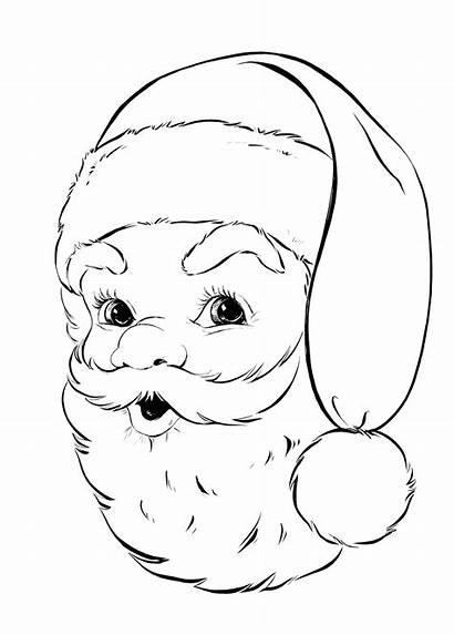 Activities Children Coloring Santa Retro Christmas Face