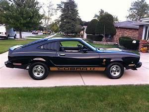 1976 Ford Mustang II Base Hardtop 3-Door 5.0L COBRA Black with Gold Stripes