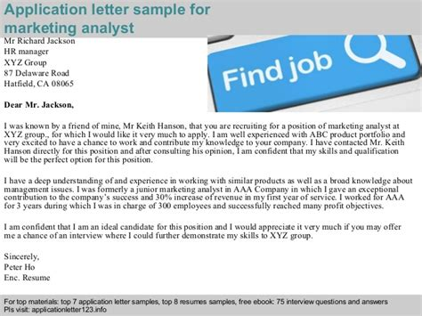 Marketing Analyst Questions by Marketing Analyst Application Letter