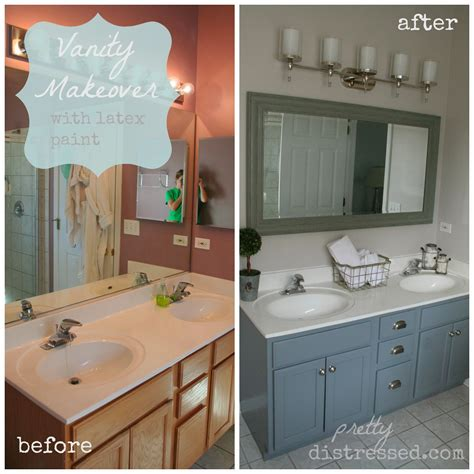 Pretty Distressed Bathroom Vanity Makeover With Latex Paint