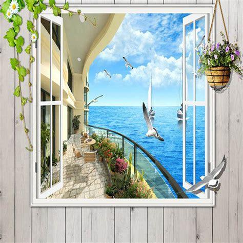 Window 3d Seaside Sunrise View Wall Stickers Art Mural