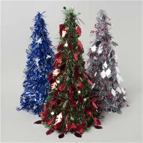 tree tinsel cone 18 75in silver blue g91557